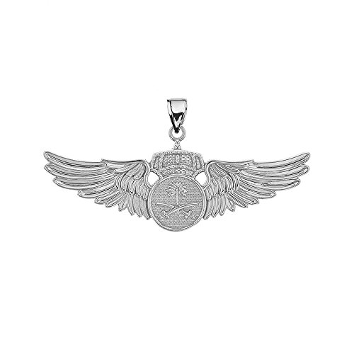 Middle Eastern Jewelry Sterling Silver Royal Saudi Arabia Air Force Wings Insignia Pendant (Air Force Insignia Pendant)
