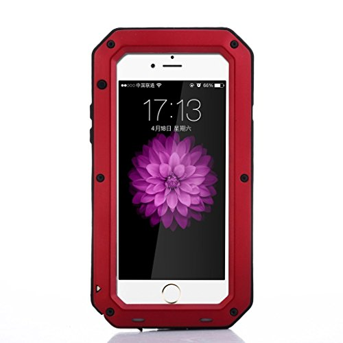 iPhone SE Case,Amever Luxury Aluminum Alloy Protective Metal Extreme Shockproof Military Bumper Heavy Duty Cover Shell Case Skin Protector for Apple iPhone 5/5C/5S/SE (Red) (Metal Case Iphone 5)