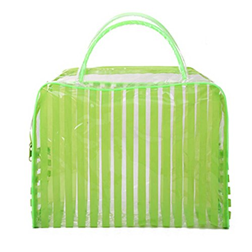 Set of 4 Striped PVC Green Waterproof Wash Bag Cosmetic Pouc
