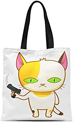 9502b8e8b Amazon.com: Semtomn Cotton Canvas Tote Bag Cat Weird Kitten Gun Animal Armed  Bizarre Calico Cartoon Reusable Shoulder Grocery Shopping Bags Handbag  Printed: ...