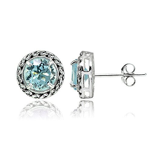 Sterling Silver Blue Topaz Round Oxidized Rope Stud (Blue Topaz Rope Earrings)