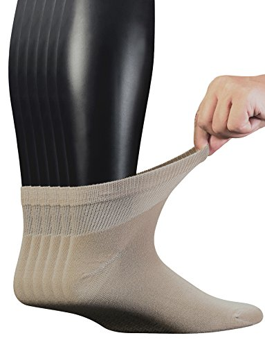 - Yomandamor Men's 6 Pairs Combed Cotton Diabetic Ankle Socks with Seamless Toe and Non-Binding Top