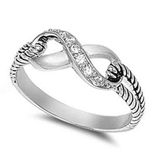 7MM ITALIAN Sterling Silver Polished INFINITY KNOT RING Ring Size 5-9 CELTIC (.925 Sterling Silver, 8)