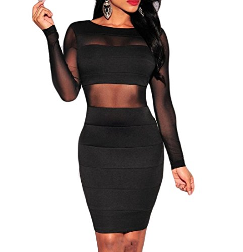 Coolred Solid Back Net Mini Black Slim Women Dress Bodycon Yarn Open Sexy Fitting HYfnYxt