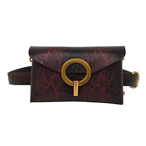 Shoulder Bag for Women, gLoaSublim Snakeskin Print Circle Buckle Women Crossbody Shoulder Bag Waist Fanny Pack - Brown