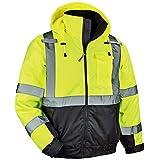 Ergodyne GloWear 8377 ANSI Black Bottom High Visibility Lime Thermal Bomber Jacket, Small