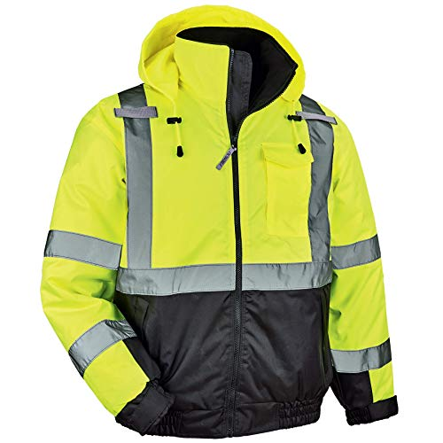 Ergodyne GloWear 8377 ANSI Black Bottom High Visibility Lime Thermal Bomber Jacket, 4XL