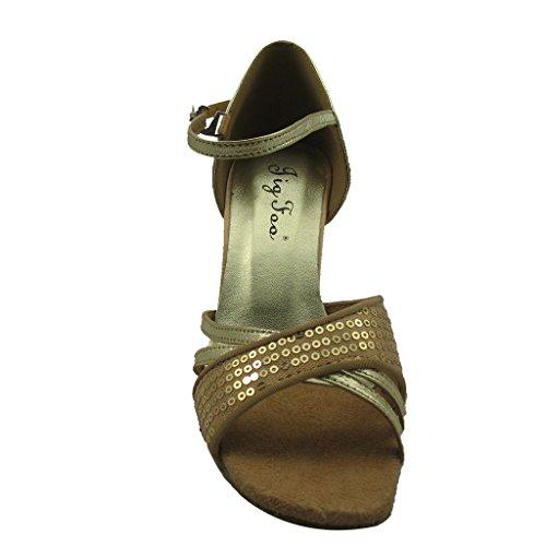 """Jig a sandalias Foo Fighters Open-toe Latina Salsa Tango salón de baile zapatos de baile para las mujeres con 3""""talón"""