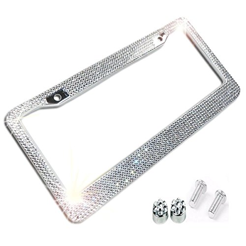 Clear / White Crystal Rhinestone License Plate ABS Chrome Frame With Crystal Screw Caps - 1 Frame