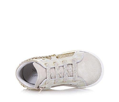 NERO GIARDINI - Sneaker dorée en suède, cuir et paillettes, made in Italy, avec fermeture éclair latérale, chaîne décorative, fille, filles
