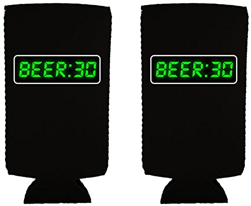 Coolie Junction Beer 30 (Thirty) Funny Slim Can Coolie (2 Pack Black) by Coolie Junction