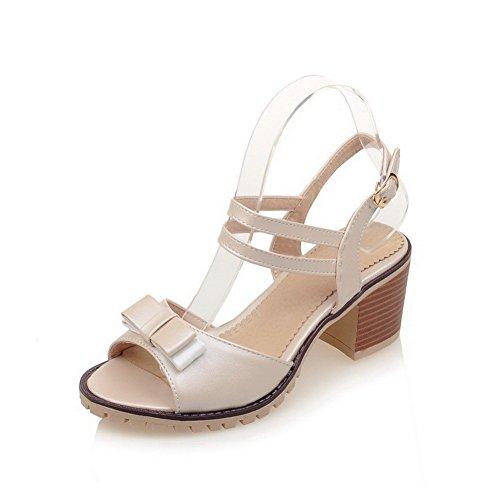 AllhqFashion Women's Soft Material Buckle Open Toe Kitten-Heels Solid Sandals Beige y73Zd