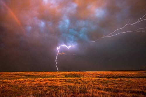 Storm Photography Wall Art Print - Picture of Lightning Spanning Sky with Rainbow in Southern Oklahoma Weather Decor 5x7 to 40x60