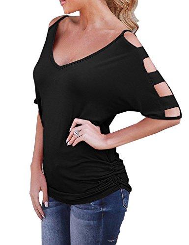 's Cold Shoulder Tops Cut Out V Neck Ruched Shirt,S ()