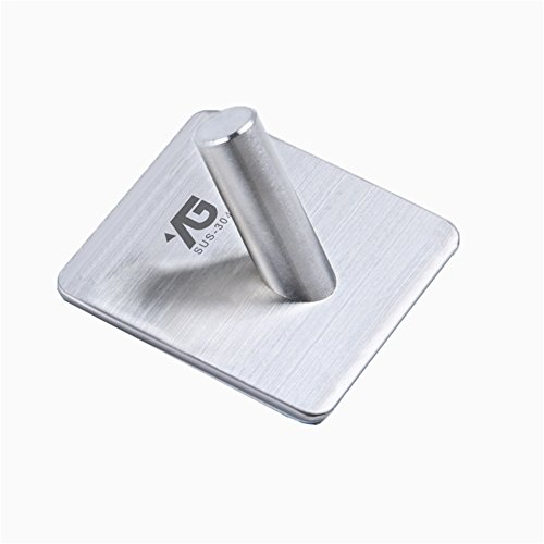 Sitong Wall Mounted Bedroom Bathroom Kitchen Office Hooks 3M Self-Adhesive Hooks,Heavy Duty Wall Hooks 304 Stainless Steel Hooks for Hanging Keys, Robe, Towel, Coat, Bags.