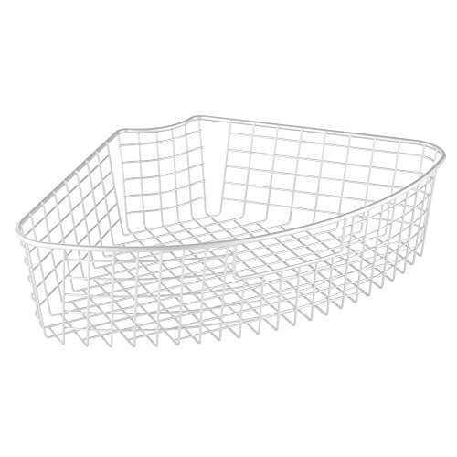 InterDesign Classico Lazy Susan Wire Storage Basket with Handle for Kitchen Cabinets, Pantry - 1/4, Matte White