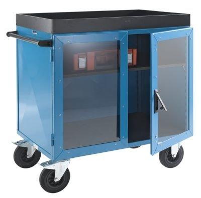 EUROKRAFT Schrankwagen KOMPAKT - Stahlblech 3-seitig, Türen mit Makrolon®-Scheiben LxBxH 1150 x 750 x 1170 mm - Sicherheitstransporter Materialcontainer Materialschrank