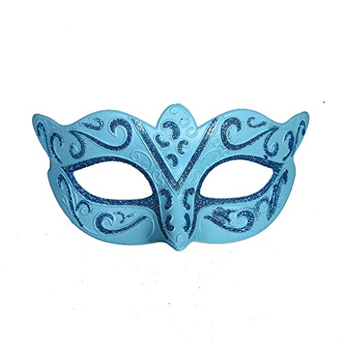 XL Masks- Halloween Mask Painted Half Face Venice Holiday Party Ball Children's Facial Decoration Props (Color : Blue)