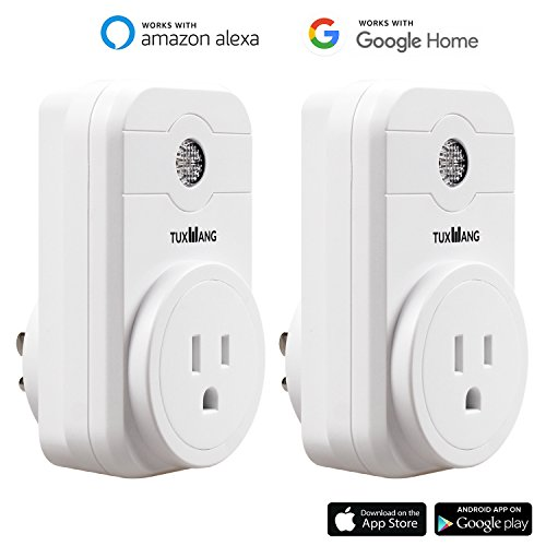 TUXWANG WiFi Smart Plug Socket Wireless Outlet Compatible with Alexa and Google Home, No Hub Required, Remote Control Your Devices from Anywhere, Timing Function (2 Pack)