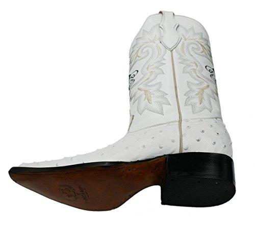 Cowboy Stövlar Läder Struts Tillbaka Skära 2x Tå Cowboy Handgjorda Lyxiga Stövlar Vita