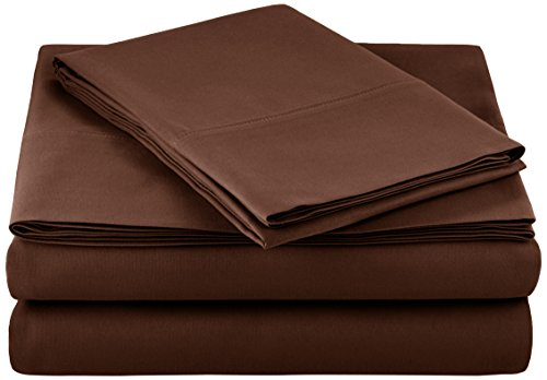 AmazonBasics Light-Weight Microfiber Sheet Set - Twin Extra-Long, Chocolate