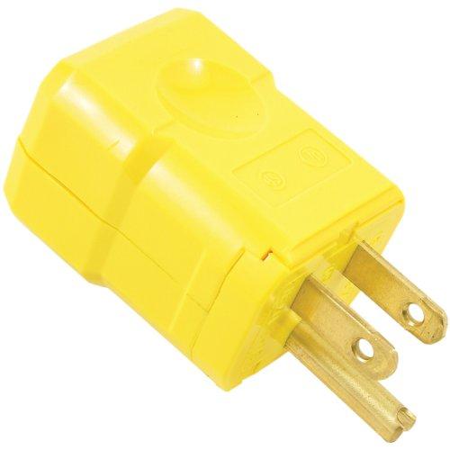 Hinge Display Connector (Leviton 5256-VY 15 Amp, 125 Volt, Industrial Grade, Plug, Straight Blade, Grounding, Python, Yellow)