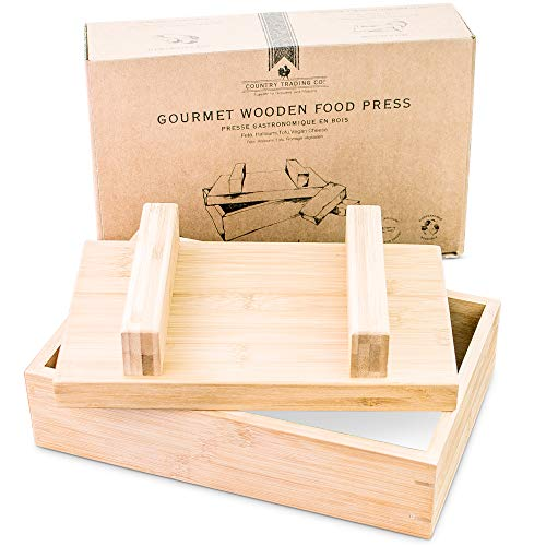 Gourmet Wooden Food Press for Making Tofu Cheese Oshizushi and Musubi - Plastic Free Presser to Remove Water and Mold Large Homemade Rectangular Blocks of Paneer Halloumi Feta and Vegan Nut Queso