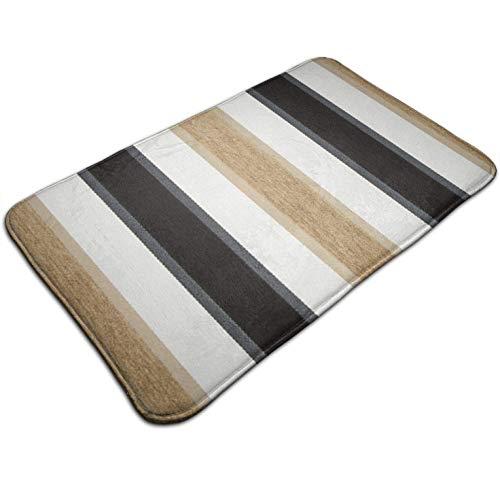 Tuoneng Black Taupe Brown White Stripe,Kitchen Carpet Rug Door Mat Rug for Bathroom Outdoor Porch Laundry Living Multifunction Doormat (19.5