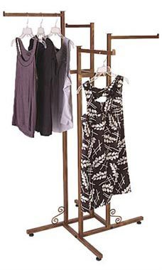Cobblestone 4-way Boutique Clothing Rack - Straight Arms - STOR-60481 by Miller Supply Inc