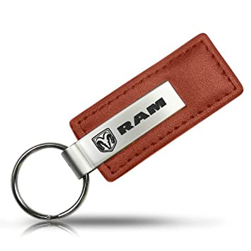 Dodge Ram Brown Leather Key Chain