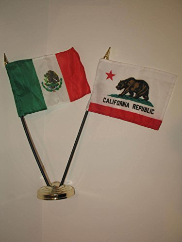 """Cali California Republic State and Mexico Country Flag 4""""x6"""" Desk Set Gold Base Vivid Color and UV Fade Resistant Canvas Header and polyester material"""