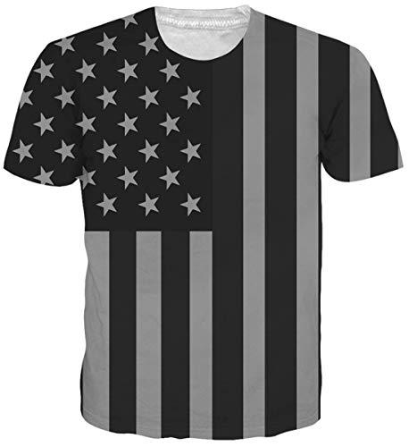 Belovecol Men's July 4th Patriotic Clothing USA Flag 3D Graphic Printed Tee Shirts Black Stripe T Shirts Tops L