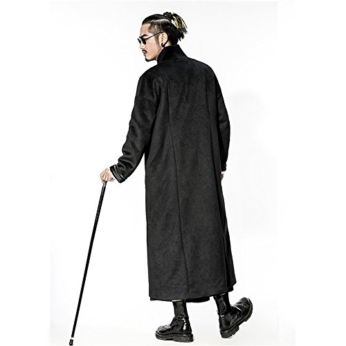 Slim Black de invierno chaqueta El paño abrigo lana China invierno otoño largo macho viento el de abrigo XXXL y de tqXUXYa