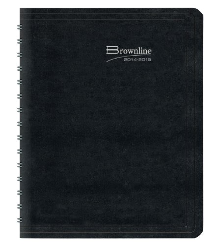 Brownline Weekly Planner Twin-Wire Binding with Soft Lizard-Like Cover, 11-Inch X 8-1/2-Inch, English, Black (CB950.BLK_2015) (Binding 11x14 Covers)