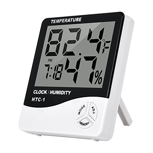 Clock + LCD Digital Hygrometer Humidity Thermometer Temperature Meter In/Outdoor - 7