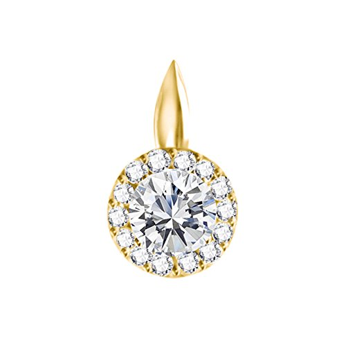 - TwoBirch 14k Yellow Gold 14k Yellow gold Circle Halo Pendant with Chain set with Diamonds G-H I1-I2 (0.5 ct. twt.) with Diamonds (0.5 ct. twt.)