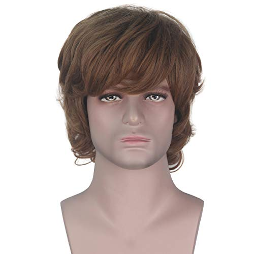 Miss U Hair Short Curly Golden Brown Unisex Hair Party Halloween Cosplay Costume Wig