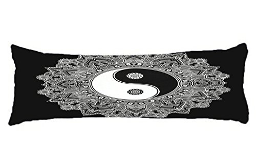 HollyNoirial Body Pillow Cover Cotton Long Body Pillow Case Hotel Home Decorative At Bed Ying Yang Mandala White and Black Pillowcase 20x54 inch (Best Nursing Pillow Canada)