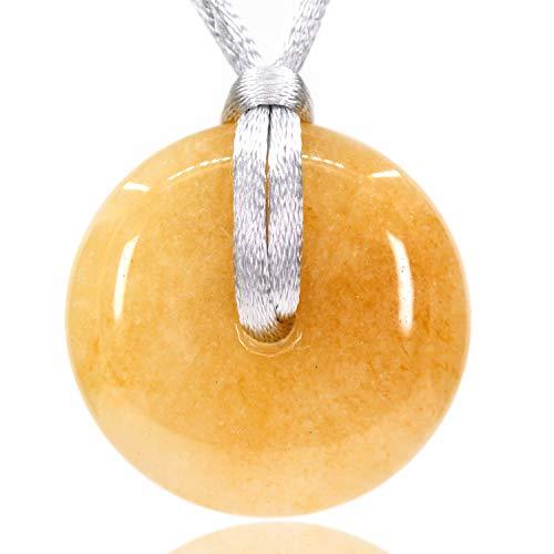 (AMANDASTONES Natural A Grade Topaz Gemstones Peace Donut 30M Beads Adjustable Braided Macrame Tassels Pendant Unisex)