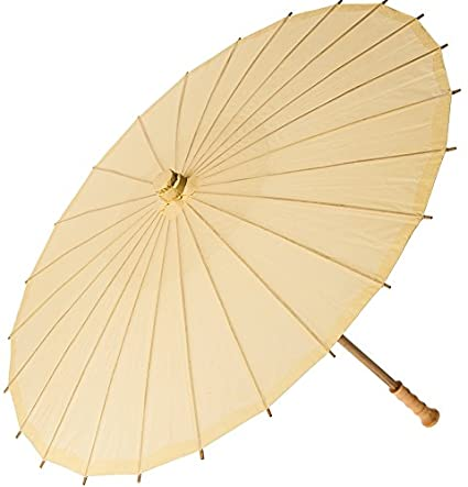 Amazon Com Luna Bazaar Paper Parasol 28 Inch Ivory Chinese