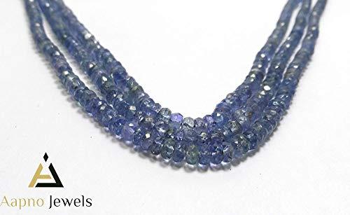 (1 Strand Natural Tanzanite Loose Beads Strand, 3-4mm 16 Inch Faceted Rondelle Tanzanite Beads, Tanzanite Beads Necklace, Jewelry Making Tanzanite Beads, Knotted Tanzanite Necklace)
