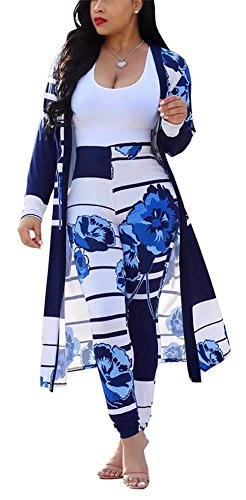 (LKOUS Women 2 Piece Outfit Floral Long Sleeve Open Front Kimono Cardigan and Bodycon High Waisted Long Pants Clubwear)