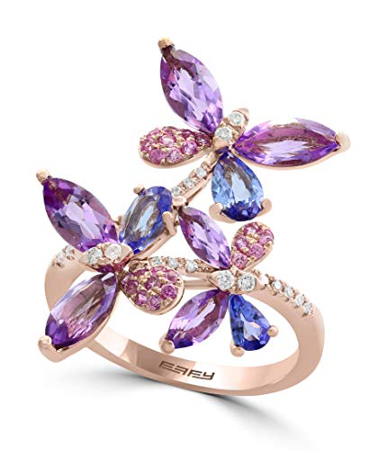 Effy Multi-Gemstone (3-1/2 ct. t.w.) & Diamond Accent Butterfly Ring in 14k Rose Gold