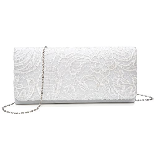Chichitop Women's Elegant Floral Lace Evening Party Clutch Bags Bridal Wedding Purse Handbag,White by Chichitop