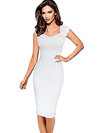 VfEmage Womens Sexy Elegant Summer Casual Party Cocktail Sheath Bodycon Dress 6487 WHT S
