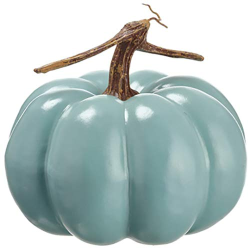 SilksAreForever 7'' Hx8 W Artificial Trick Or Treat Pumpkin -Teal (Pack of 6)