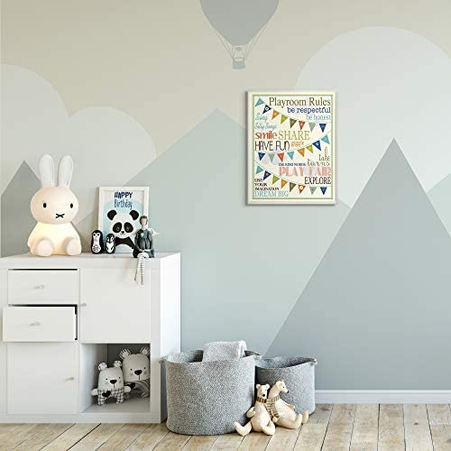 Proudly Made in USA The Kids Room by Stupell brp-1613 Stupell Home D/écor Playroom Rules With Pennants In Blue Rectangle Wall Plaque 10.25 x 0.5 x 14.75