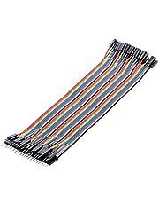 Yongluo Fios de jumper de tábua de pão macho para fêmea Cabo Dupont para cabos de fita multicoloridos Arduino 40 pinos 20 cm