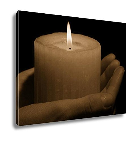 Ashley Canvas Burning Candle In Hands Isolated On Black, Kitchen Bedroom Living Room Art, Sepia 24x30, AG6514099 by Ashley Canvas