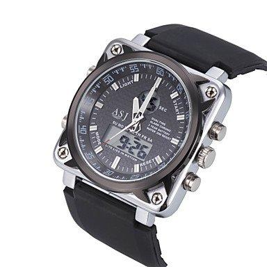 Herrklockor, 4 färger dubbel tid digital datum larm vattentät LCD kronograf herr sport armbandsur kvarts klocka gummiband Brun